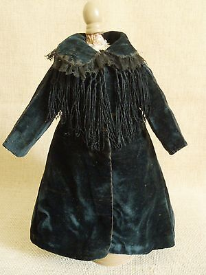 Antique Original Silk Velvet Coat/Dress for French Fashion Doll Huret, Rohmer