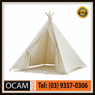 Kids Large Cotton Canvas Teepee with Lace Trim and Timber Posts Kids Play Tent T