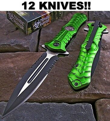 12 PC Wholesale Lot Zombie Hunter Stiletto Dagger Spring Assisted Knives NEW
