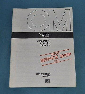 John Deere 3 Speed Bicycle Operators Manual With Warranty Info OM-M6317 Issue F3