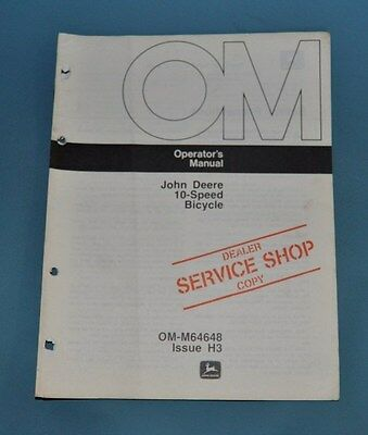 John Deere 10 Speed Bicycle Operators Manual With Warranty Info OM-M65658  H3