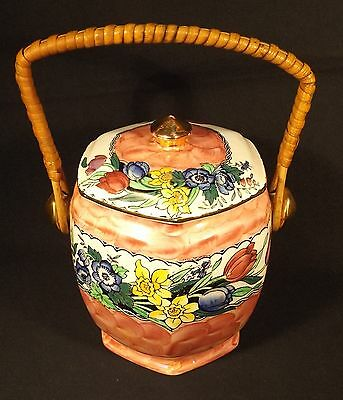 1930's Eng. Maling Tulips Daffodils Pink Thumbprint Cane Handle Biscuit Barrel