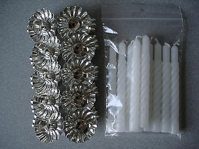 10 Metal Silver Clip On Candle Holders + 10 Twisted Candles Christmas Tree New