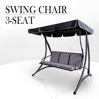 Outdoor 3 Seat Swing Chair Canopy Hanging Chair Garden Bench Seater Steel Frame