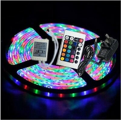 Waterproof 5M SMD 3528 RGB 300 Leds Flexible Strip light Adapter IR Remote Kit