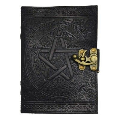 Black Pentagram Leather Journal - Pentacle Wicca WitchCraft Spell Book Celtic