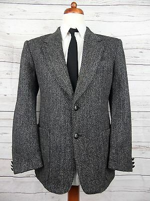 Vintage Dark Grey Herringbone Weave Harris Tweed Jacket  -42S- CI18