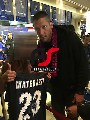 Marco Materazzi Signed Inter Milan Football Shirt+Photo Proof*see Him Sign*
