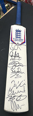England Cricket Signed Bat 2016 +Photo Proof*see Players Sign This Bat*