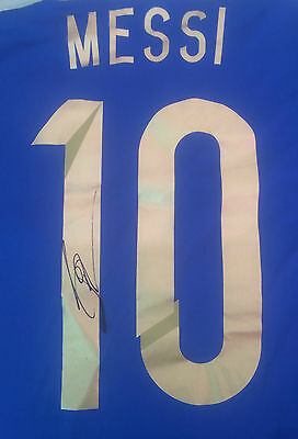 Lionel Messi Signed Argentina World Cup Final Football Shirt 2014