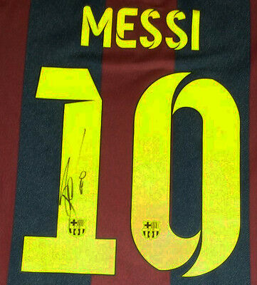 Lionel Messi Signed Barcelona Football Shirt 2015 + Photo Proof *see Messi Sign*