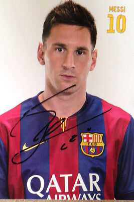 Lionel Messi Signed Fc Barcelona Official Photocard
