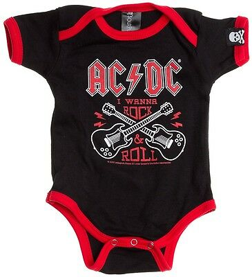 Sourpuss Licensed AC/DC Rock & Roll baby vest alternative goth rock punk metal