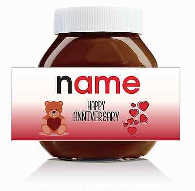 Nutella Labels! - 3 x Personalised 'Happy Anniversary' Labels for 750g Jar!