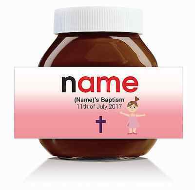 Nutella Labels! - 3 x Personalised 'Girl's Baptism' Labels for 750g Jar!