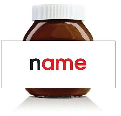 Nutella Labels! - 3 x Personalised Simple Name Labels for 750g Jar!