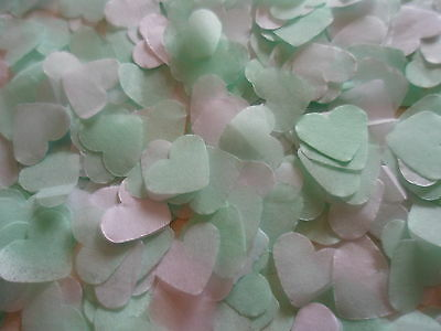 1500 Mint and White Tissue Hearts/Wedding Confetti/Celebration/Party/ Decoration