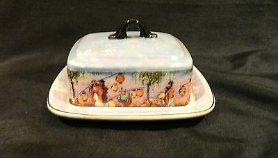 L & Sons Hanley England Blue Lustre Japanese Pattern Lidded Butter/cheese Dish