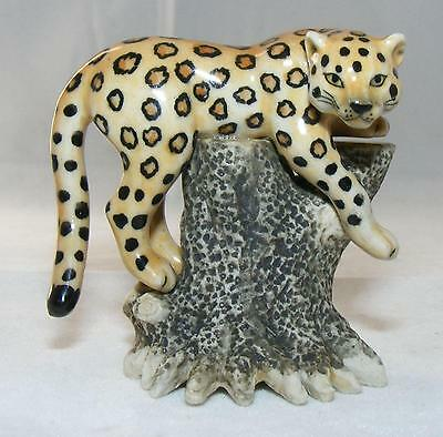 Klima Miniature Porcelain Animal Figure Jaguar on Tree Stump L834