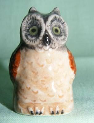Klima Miniature Porcelain Owl Thimble Brown/Grey Head K520