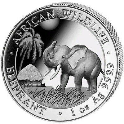 2017 Somalian Elephant 1 oz .9999 Silver BU Coin - 100 SHILLINGS AFRICAN ROUND