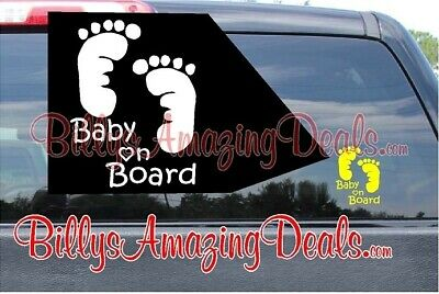 Baby on Board Feet Footprint Vinyl Decal Safety First Car Back Window Sticker