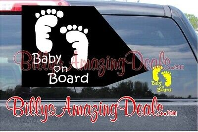 "Baby on Board Footprints 4"" Up Vinyl Decal Car Ride Safety First Window Sticker"