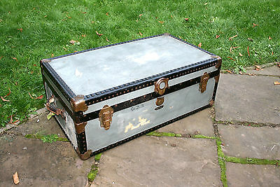 Large Vintage Cabin Steamer Steam Boat Travel Trunk Chest By Mossman Of London