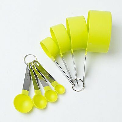 Cook's Corner 8Pc Lime Green Stainless Steel Measuring Cups And Spoons Set