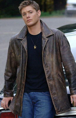 Supernatural Dean Winchester Brown Distressed Cow Skin Leather Jacket/ Coat Mens