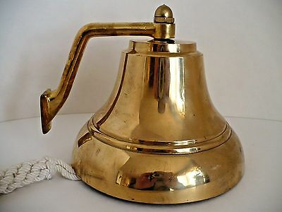 "Solid Brass Metal Marine Maritime Nautical Sea Ship Boat Bell w Pull Rope 6"" D"