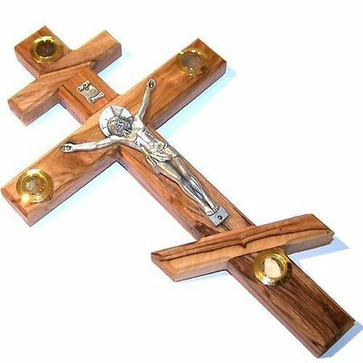 "6.3"" Holy Land Israel Handcarved Olive Wood Russian Orthodox Crucifix Jerusalem"