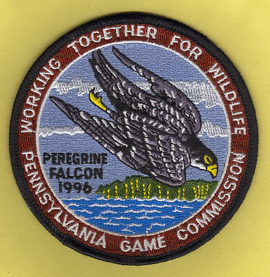 "Pa Pennsylvania Game Commission NEW 4"" WTFW 1996 Peregrine Falcon Hawk Patch"