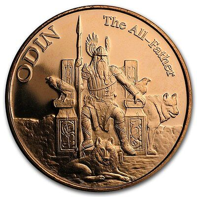 Norse Gods Series Odin - Valkyrie 1 oz .999 Copper BU Round US Made Bullion Coin