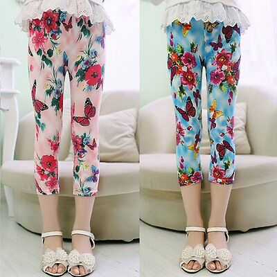 1-7Y Girls Floral Skinny Leggings Casual Kid Child Stretchy Tight Pants Trousers