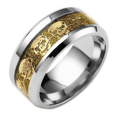 Mens Jewelry Never Fade Of Stainless Steel Skull Ring Gold filled Skeleton rings