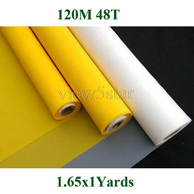 120Mesh 48T 1x1.65Yards White Count Silk Screen Printing Fabric Polyester DIY