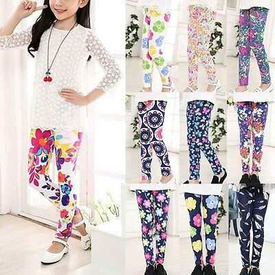 Child Kids Girls Leggings Floral Printed Long Pants Trousers For 1-12 Years Girl