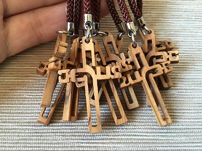 Olive Wood Jerusalem Jesus Cross Key Chain 10PCS Christian Holy Land Souvenir