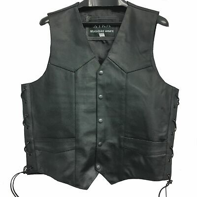 Lovely Naked Leather Waistcoat Motorbike Biker Mens Motorcycle Vest Laced Texpeed Coats & Jackets