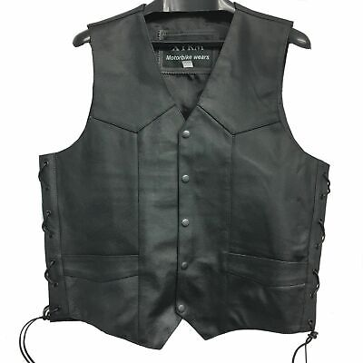 New Motorcycle Xtrm Leather Waistcoat Biker Vest With Side Laces (Black)