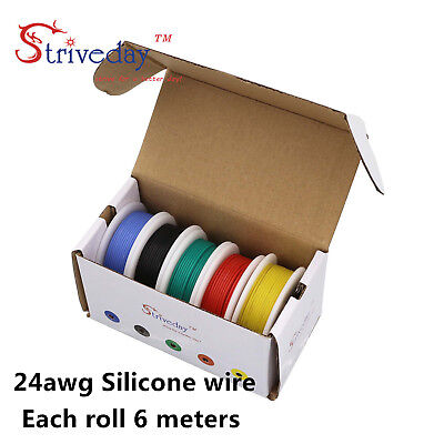 30m 24AWG Silicone Wire 5 color Mix box 1 package Electrical Wire Line Copper