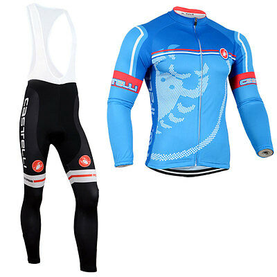 New Cycling Clothing Suit Long Sleeve Bicycle Bike Sports Set Jersey Bib Pants