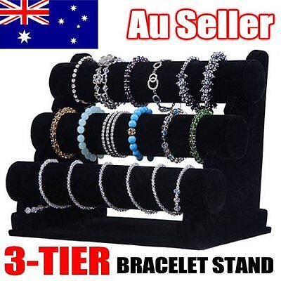 3-Tier Black Removable Velvet Jewelry Display Bracelet Rack Show Watch Holder AU