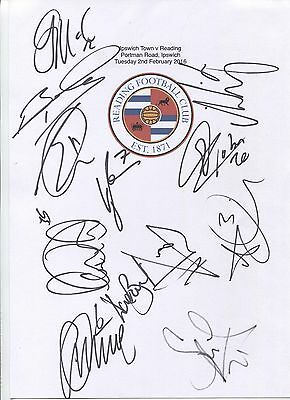 An A4 white card with the Reading Badge. Signed by 12 players on 02.02.2016.