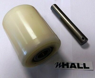Nylon 82mm Dia x100mm hand pallet truck load roller + 20mm bearings & axle pin