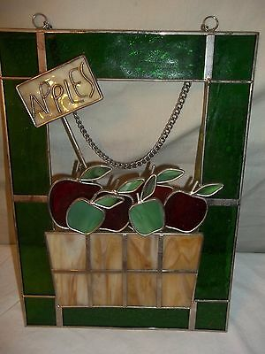 Stained Glass Suncatcher or Wall Hanging Apples in Basket w/Sign  8 x 11 inches