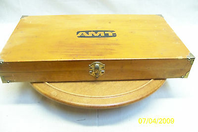 Vintage AMT Machinist Calipers Old Tools Woodworking Wood Box