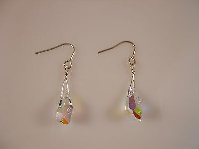 Sterling Silver, Faceted Clear Polygon Drop Swarovski Element Earrings