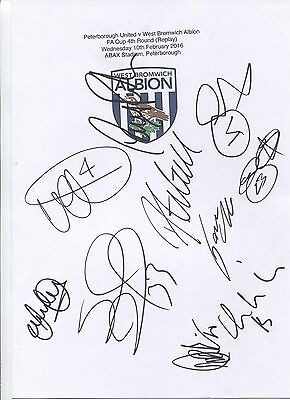 Two A4 white cards with the West Bromwich Albion Badge. Signed by 19 players.